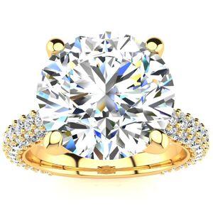 SuperJeweler 5 1/3 Carat Halo Diamond Engagement Ring w/ 4 Carat Center Diamond in 14K Yellow Gold (12.90 g), , Size 4 by SuperJeweler
