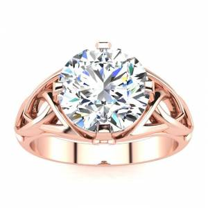 SuperJeweler 4 Carat Celtic Love Knot Diamond Engagement Ring in 14K Rose Gold (5.35 g) (, I1-I2 Clarity Enhanced), Size 4 by SuperJeweler