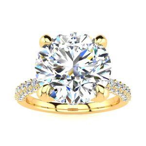 SuperJeweler 4 3/4 Carat Halo Diamond Engagement Ring w/ 4 Carat Center Diamond in 14K Yellow Gold (3.90 g) (, I1-I2 Clarity Enhanced), Size 4 by SuperJeweler