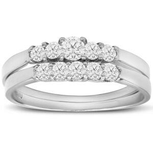 SuperJeweler 1/2 Carat Diamond Bridal Ring Set w/ .12 Carat Center Diamond in 14k White Gold, Size 6,  by SuperJeweler