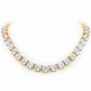 SuperJeweler 136 Carat Fine Diamond Line Necklace in 18K Yellow Gold (105 Grams), 16 Inches, The Countess Collection by Luann De Lesseps for SuperJeweler, G/H