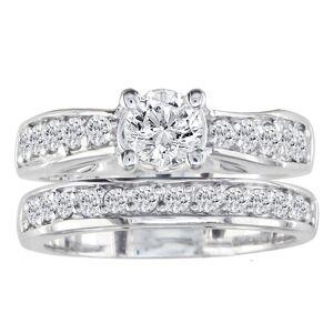 SuperJeweler 1.5 Carat Round Diamond Bridal Ring Set in 14k White Gold (7.9 g) (, I1-I2 Clarity Enhanced), Size 4 by SuperJeweler