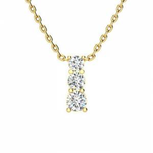 SuperJeweler 1/2 Carat Three Stone Diamond Necklace in 14K Yellow Gold (2 g), 18 Inches,  by SuperJeweler