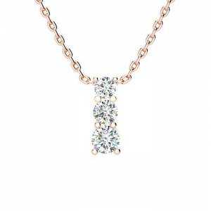 SuperJeweler 1/2 Carat Three Stone Diamond Necklace in 14K Rose Gold (2 g), 18 Inches,  by SuperJeweler
