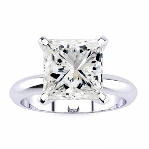 SuperJeweler 3 Carat Princess Cut Diamond Solitaire Engagement Ring in 14K White Gold (3 g) (, I1-I2 Clarity Enhanced), Size 10 by SuperJeweler