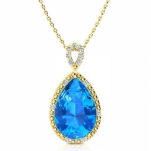 SuperJeweler 3 1/2 Carat Pear Shaped Blue Topaz & Diamond Necklace in Yellow Gold (2.40 g), , 18 Inch Chain by SuperJeweler