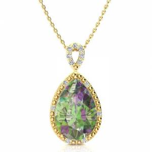 SuperJeweler 3 1/2 Carat Pear Shaped Mystic Topaz & Diamond Necklace in Yellow Gold (2.4 g), , 18 Inch Chain by SuperJeweler