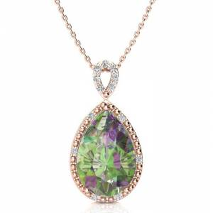 SuperJeweler 3 1/2 Carat Pear Shaped Mystic Topaz & Diamond Necklace in Rose Gold (2.4 g), , 18 Inch Chain by SuperJeweler