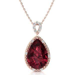 SuperJeweler 3 1/2 Carat Pear Shaped Garnet & Diamond Necklace in Rose Gold (2.40 g), , 18 Inch Chain by SuperJeweler