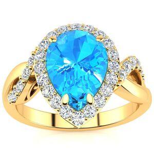 SuperJeweler 2.5 Carat Pear Shape Blue Topaz & 32 Diamond Ring in 14K Yellow Gold (4 g), , Size 4 by SuperJeweler