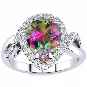 SuperJeweler 2.5 Carat Pear Shape Mystic Topaz & 32 Diamond Ring in 14K White Gold (4 g), , Size 4 by SuperJeweler