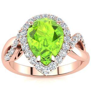 SuperJeweler 2.5 Carat Pear Shape Peridot & 32 Diamond Ring in 14K Rose Gold (4 g), , Size 4 by SuperJeweler