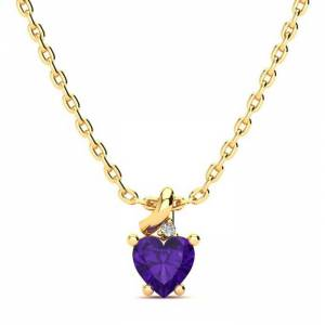 SuperJeweler 1/2 Carat Amethyst & Diamond Heart Necklace in Yellow Gold (2 g), , 18 Inch Chain by SuperJeweler