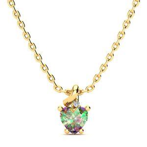 SuperJeweler 1/2 Carat Mystic Topaz & Diamond Heart Necklace in Yellow Gold (2 g), , 18 Inch Chain by SuperJeweler