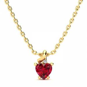 SuperJeweler 1/2 Carat Created Ruby & Diamond Heart Necklace in Yellow Gold (2 g), , 18 Inch Chain by SuperJeweler