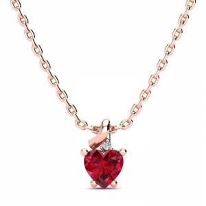 SuperJeweler 1/2 Carat Created Ruby & Diamond Heart Necklace in Rose Gold (2 g), , 18 Inch Chain by SuperJeweler