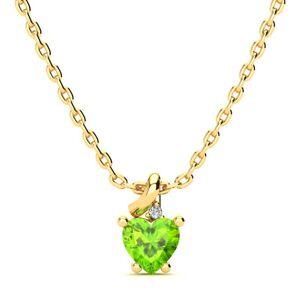 SuperJeweler 1/2 Carat Peridot & Diamond Heart Necklace in Yellow Gold (2 g), , 18 Inch Chain by SuperJeweler