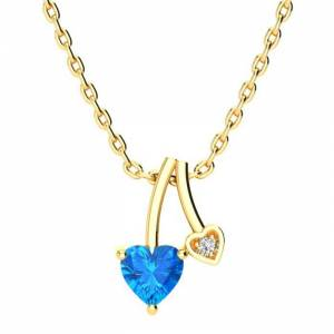 SuperJeweler 1/2 Carat Heart Shaped Blue Topaz & Diamond Necklace in Yellow Gold (3 g), , 18 Inch Chain by SuperJeweler