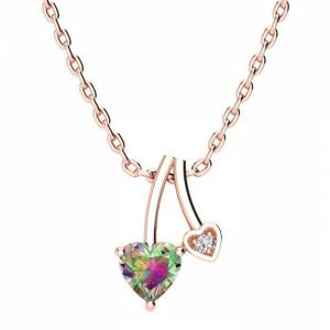 SuperJeweler 1/2 Carat Heart Shaped Mystic Topaz & Diamond Necklace in Rose Gold (3 g), , 18 Inch Chain by SuperJeweler