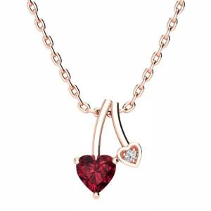 SuperJeweler 1/2 Carat Heart Shaped Garnet & Diamond Necklace in Rose Gold (3 g), , 18 Inch Chain by SuperJeweler