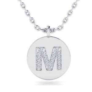 SuperJeweler M Initial Necklace in 14K White Gold (2 g) w/ 17 Diamonds, , 18 Inch Chain by SuperJeweler