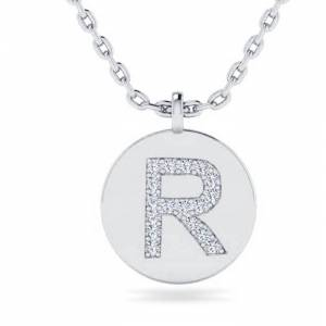 SuperJeweler R Initial Necklace in 14K White Gold (2 g) w/ 17 Diamonds, , 18 Inch Chain by SuperJeweler