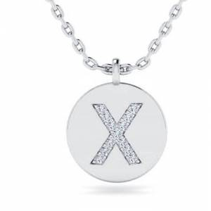 SuperJeweler X Initial Necklace in 14K White Gold (2 g) w/ 13 Diamonds, , 18 Inch Chain by SuperJeweler