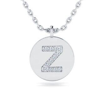 SuperJeweler Letter Z Diamond Initial Necklace in 14K White Gold (2 g) w/ 12 Diamonds, , 18 Inch Chain by SuperJeweler