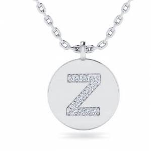SuperJeweler Z Initial Necklace in 14K White Gold (2 g) w/ 12 Diamonds, , 18 Inch Chain by SuperJeweler