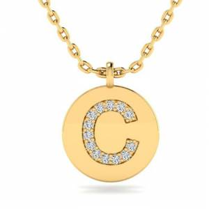 SuperJeweler C Initial Necklace in 14K Yellow Gold (2 g) w/ 13 Diamonds, , 18 Inch Chain by SuperJeweler