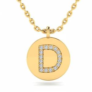SuperJeweler D Initial Necklace in 14K Yellow Gold (2 g) w/ 16 Diamonds, , 18 Inch Chain by SuperJeweler