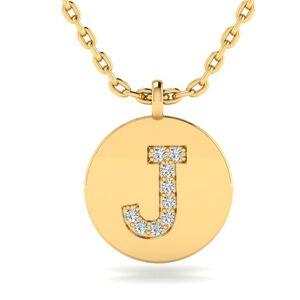 SuperJeweler J Initial Necklace in 14K Yellow Gold (2 g) w/ 9 Diamonds, , 18 Inch Chain by SuperJeweler