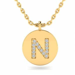 SuperJeweler N Initial Necklace in 14K Yellow Gold (2 g) w/ 14 Diamonds, , 18 Inch Chain by SuperJeweler