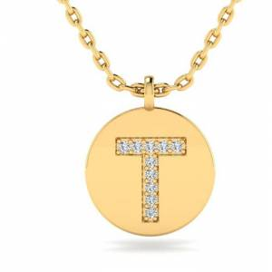 SuperJeweler T Initial Necklace in 14K Yellow Gold (2 g) w/ 10 Diamonds, , 18 Inch Chain by SuperJeweler