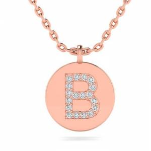 SuperJeweler B Initial Necklace in 14K Rose Gold (2 g) w/ 18 Diamonds, , 18 Inch Chain by SuperJeweler