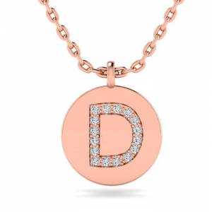 SuperJeweler D Initial Necklace in 14K Rose Gold (2 g) w/ 16 Diamonds, , 18 Inch Chain by SuperJeweler