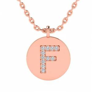 SuperJeweler F Initial Necklace in 14K Rose Gold (2 g) w/ 11 Diamonds, , 18 Inch Chain by SuperJeweler