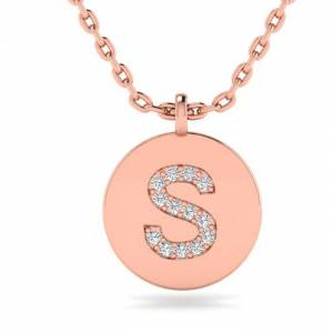 SuperJeweler S Initial Necklace in 14K Rose Gold (2 g) w/ 14 Diamonds, , 18 Inch Chain by SuperJeweler