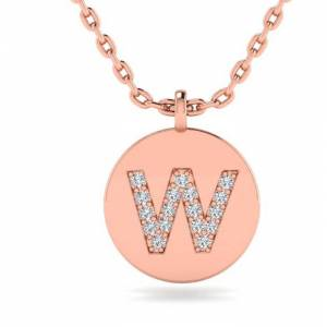 SuperJeweler W Initial Necklace in 14K Rose Gold (2 g) w/ 17 Diamonds, , 18 Inch Chain by SuperJeweler