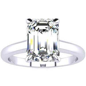 SuperJeweler 2 Carat Emerald Cut Diamond Solitaire Ring in 14K White Gold (3 g) (, VS2-SI1), Size 4 by SuperJeweler
