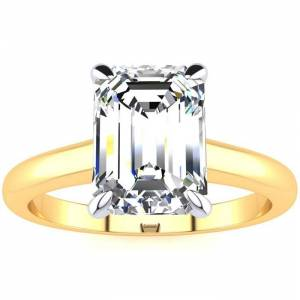 SuperJeweler 2 Carat Emerald Cut Diamond Solitaire Ring in 14K Yellow Gold (3 g) (, VS2-SI1), Size 4 by SuperJeweler