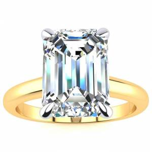 SuperJeweler 3 Carat Emerald Cut Diamond Solitaire Ring in 14K Yellow Gold (3 g) (, VS2-SI1), Size 4 by SuperJeweler