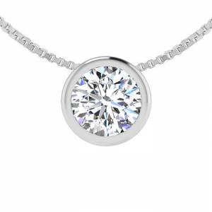 SuperJeweler 1/3 Carat Bezel Set Diamond Solitaire Necklace in 14K White Gold (2.40 g), 18 Inches,  by SuperJeweler