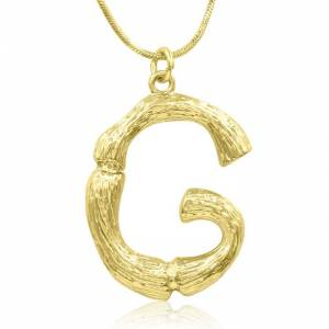"SuperJeweler ""G"" Bamboo Initial Necklace in Gold Overlay, All Letters Available, Free 18 Inch Snake Chain by SuperJeweler"