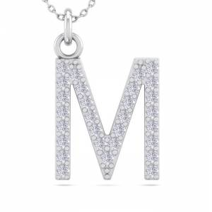 SuperJeweler M Initial Necklace in 14K White Gold (2.50 g) w/ 29 Diamonds, , 18 Inch Chain by SuperJeweler