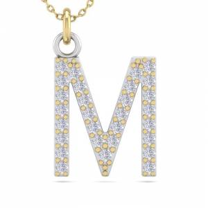 SuperJeweler M Initial Necklace in 14K Yellow Gold (2.50 g) w/ 29 Diamonds, , 18 Inch Chain by SuperJeweler