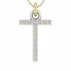 SuperJeweler T Initial Necklace in 14K Yellow Gold (2.50 g) w/ 13 Diamonds, , 18 Inch Chain by SuperJeweler