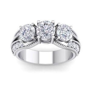 SuperJeweler 3 Carat 19 Diamond White Gold Ring, w/ 1 Carat Center,  color, I2 Clarity, Size 10 by SuperJeweler