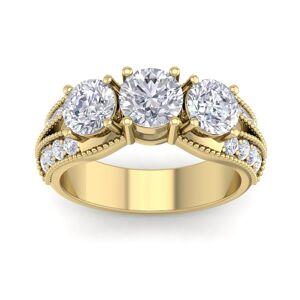 SuperJeweler 3 Carat 19 Diamond Yellow Gold Ring, w/ 1 Carat Center,  color, I2 Clarity, Size 10 by SuperJeweler