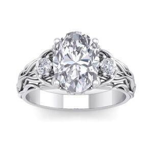 SuperJeweler 3 1/4 Carat Oval Shape Diamond Intricate Vine Engagement Ring in 14K White Gold (5.80 g) (, SI2-I1), Size 4 by SuperJeweler